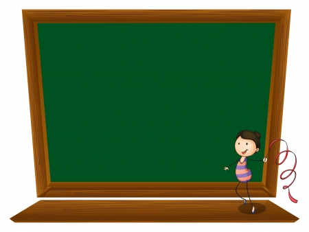 Illustration of a girl dancing in front of an empty blackboard on a white background Vector