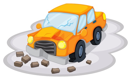 crashed: Illustration of a car accident on a white background