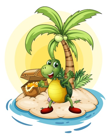 Illustration of a turtle with a treasure at the back in a small island on a white background  Vector