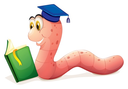 Illustration of a worm reading wearing a graduation cap on a white background  Vector