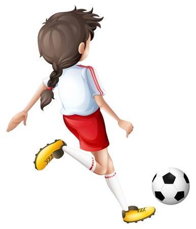 kicking ball: Illustration of a girl kicking a soccer ball on a white background