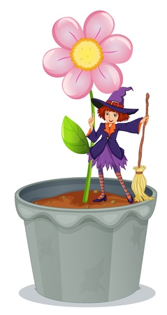 Illustration of a pot with a flower and a witch at the top on a white background Vector
