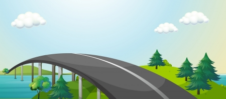 curve road: Illustration of a curve road connecting two mountains