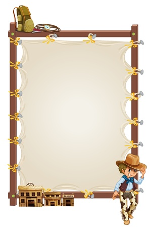 ranch background: Illustration of an empty frame banner with a cowboy and saloon bars on a white background
