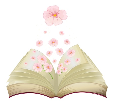 home clipart: Illustration of a book with flowers on a white background