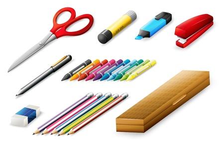 Illustration des différentes fournitures scolaires sur un fond blanc Vecteurs