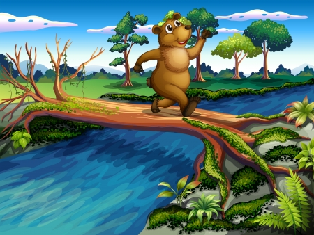 Illustration of a bear running while crossing the river Vector