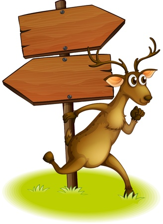 Illustration of a deer passing the empty wooden arrowboard on a white background Vector