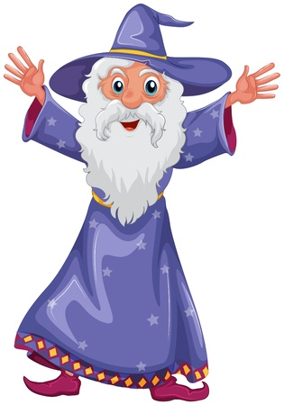 Illustration of an old wizard on a white background  Vector