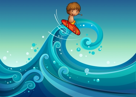 high sea: Illustration of a young boy surfing Illustration