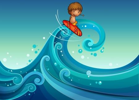 wavelength: Ilustraci�n de un joven surf