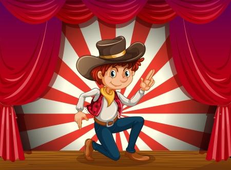ajoelhado: Ilustração de um menino ajoelhado no centro do palco