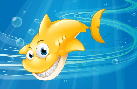 Illustration of a smiling yellow shark at the sea Vector