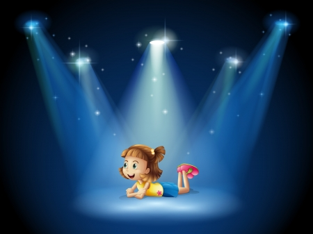 stageplay: Illustration of a cute little girl at the stage with spotlights