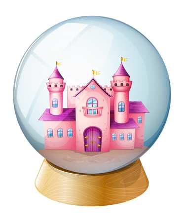Illustration of a pink castle inside the dome on a white background  Vector