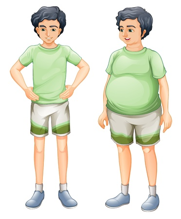thin man: Illustration of the two boys with same shirt but of different body sizes on a white background