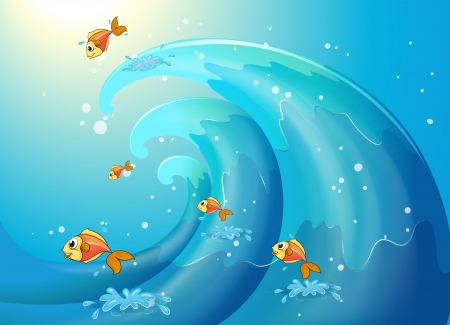 Illustration of the fishes dancing along the big waves