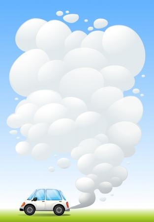 releasing: Illustration of a car releasing smoke