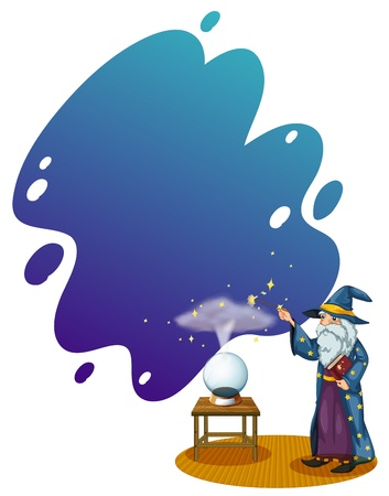 Illustration of a wizard with a book in front of a crystal ball on a white background  Vector