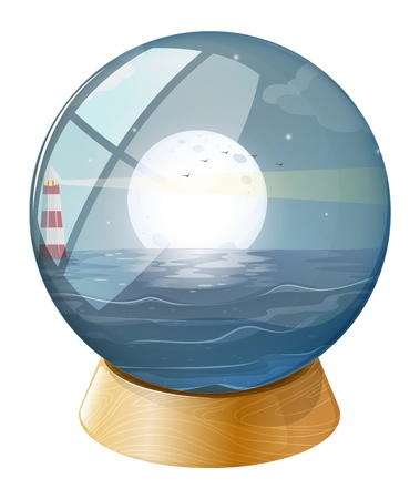 parola: Illustration of a sea with a fullmoon inside the dome on a white background