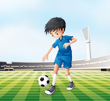football shoe: Illustration of a young gentleman playing soccer