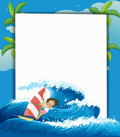 Illustration of a girl surfing in front of a big empty signage  Vector
