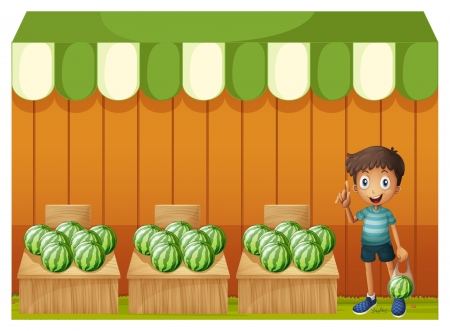 Illustration of a kid at the watermelon fruitstands on a white background  Stock Vector - 19959442