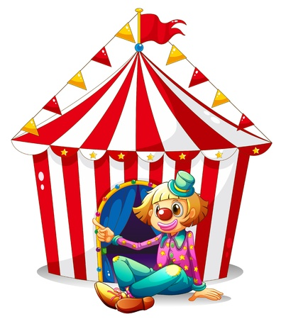 Illustration of a clown sitting in front of a red circus tent on a white background Vector