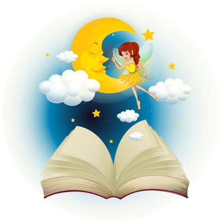 Illustration of a book with an image of a fairy and a sleeping moon on a white background  Stock Vector - 19959304