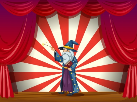 stageplay: Illustration of a wizard holding a wand in the middle of the stage