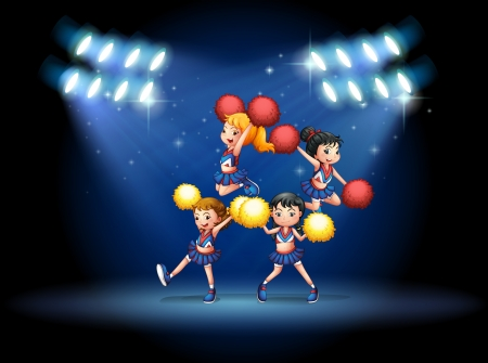 cheerleading squad: Illustration of a stage with a cheerleading squad Illustration