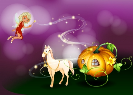 Illustration of a pumpkin cart with a fairy holding a wand Vector