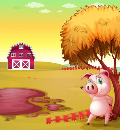 Illustration of a pig pointing the barn at the pig farm Vector