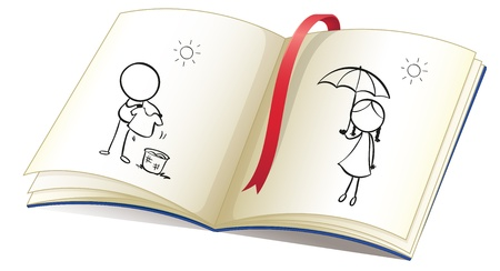 sides: Illustration of a notebook with a drawing of a sunny season on a white background  Illustration