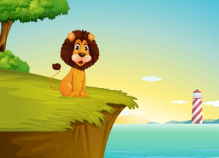 endpoint: Illustration of a lion sitting at the cliff overlooking the tower