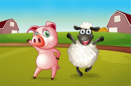 rootcrops: Illustration of a pig and a sheep dancing at the farm  Illustration