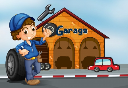 car in garage: Illustration of a boy standing in front of a garage