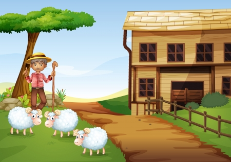 Illustration of an old man at the farm with three sheeps Vector