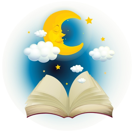 Illustration of an empty open book with a sleeping moon on a white background  Illustration