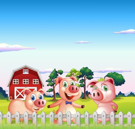 Illustration of the three pigs dancing inside the fence Vector