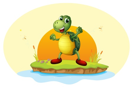 Illustration of a turtle in a small island on a white background  Vector