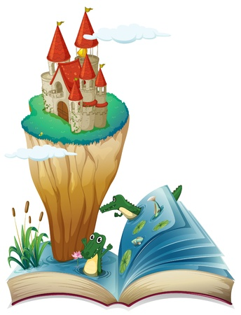 Illustration of an open book with an image of a castle in an island on a white background Stock Vector - 20140467