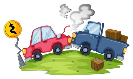 Illustration of a car accident near the yellow signage on a white background  Vector