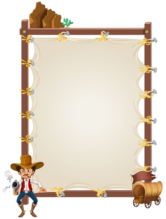 Illustration of an empty framed banner with a cowboy and a wagon on a white background Stock Vector - 20140238
