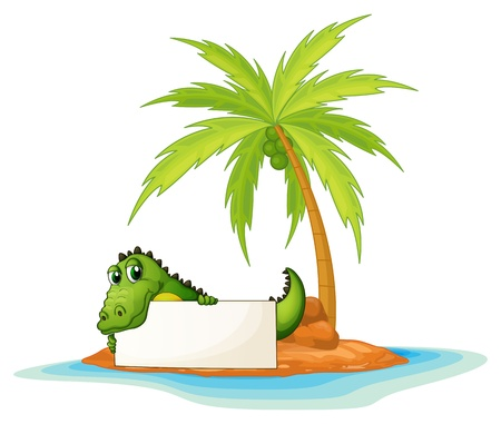 menu land: Illustration of a crocodile holding an empty signboard in a small island on a white background  Illustration