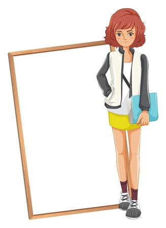 Illustration of a lady holding a book standing in front of an empty board on a white background  Stock Vector - 20140494