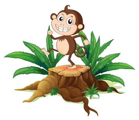 illegal logging: Illustration of a monkey dancing on a stump with leaves on a white background