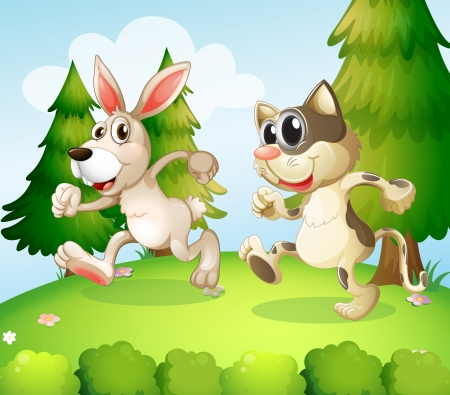 Illustration of a bunny and a cat running above the hill Stock Vector - 20140647