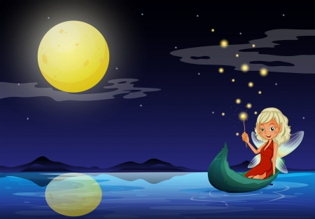fairy wand: Illustration of a fairy in a boat holding a wand Illustration
