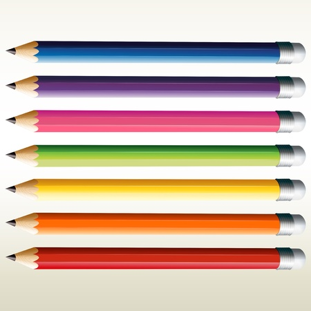 Illustration of the colorful pencils on a white background  Vector